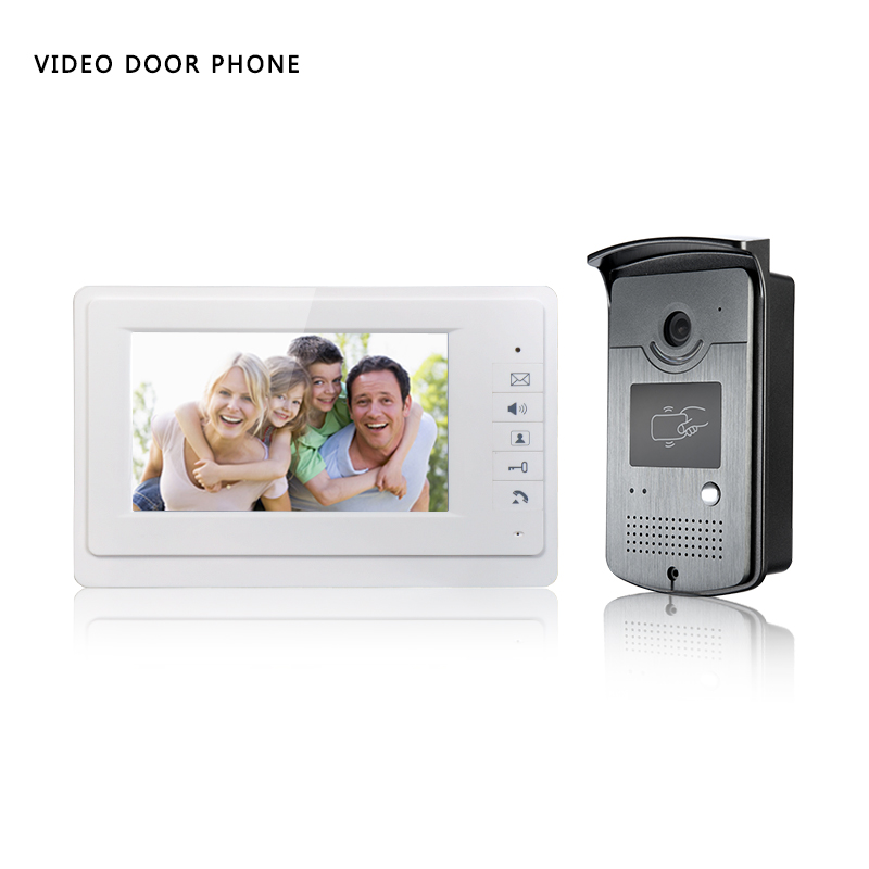 7 Inch Video Doorbell TFT-LCD hd screen Wired Video Doorphone for villa one monitor with one metal outdoor unit RFID CARD PANEL aputure vs 2 finehd kit lcd screen 7 inch v screen field video monitor with battery