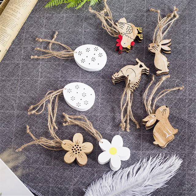 Easter wooden egg,chicken,flowers, rabbit ornaments (8pcs)- Easter decor items