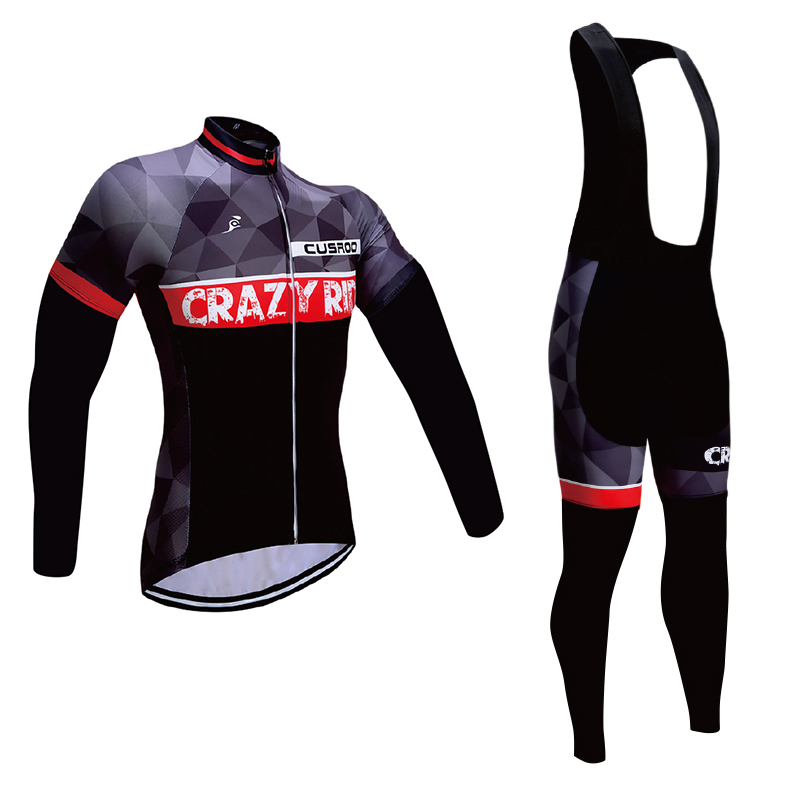 CUSROO 2017 Mens Cycling Jersey sets long Sleeve Outdoor Sports black Bicycle Cycle Clothing Quick Dry Riding Clothes black set