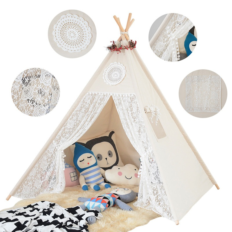 Children Teepee Wooden Poles Indian Tent Portable Foldable Tipi Prince Folding Tent Boy Castle Cubby Play House Kids Outdoor Toy eco friendly kids folding house tent canvas tent toy tents