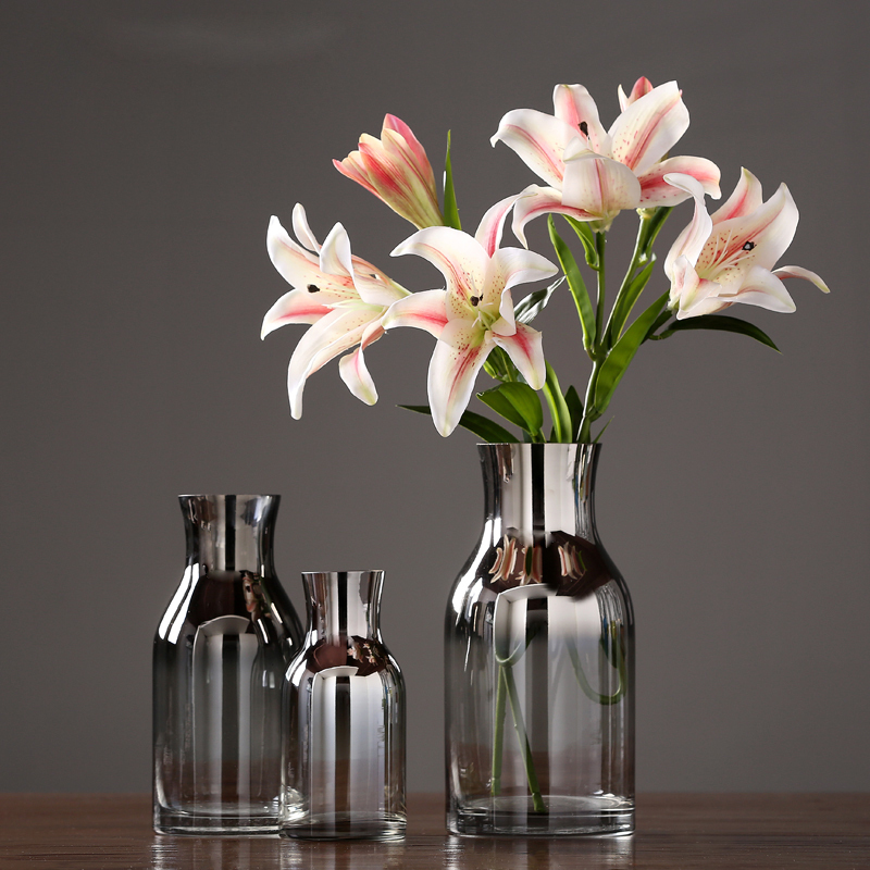 Modern plating glass vase Dried flower vase furnishing crafts Hydroponics flower insert  containers wedding home decorationModern plating glass vase Dried flower vase furnishing crafts Hydroponics flower insert  containers wedding home decoration