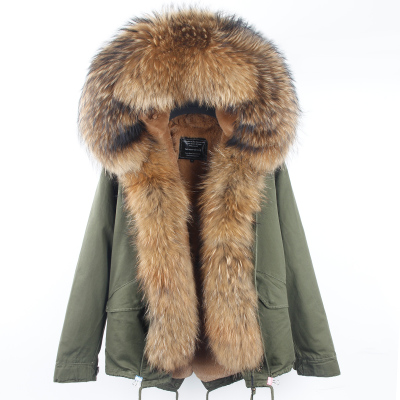 2018 fashion short styles lady winter jacket women new parka real fur coat big raccoon fur collar hooded parkas thick outerwear in Real Fur from Women 39 s Clothing