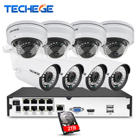 Techege 8CH Full 1080P POE NVR Kit 48V POE NVR W 4PCS 2 0MP 3000tvl NIght