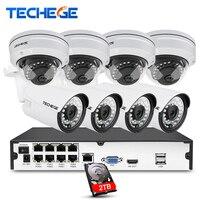 Techege 8CH Full 1080P POE NVR Kit 48V POE NVR W 4PCS 2 0MP 3000tvl NIght