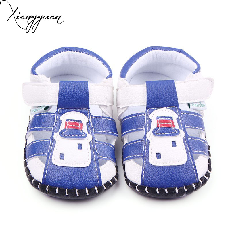 Summer Handmade Baby Shoes Leather TPR Sole Comfortable Baby Boy Toddler Sandals Shoes 0-15 Months