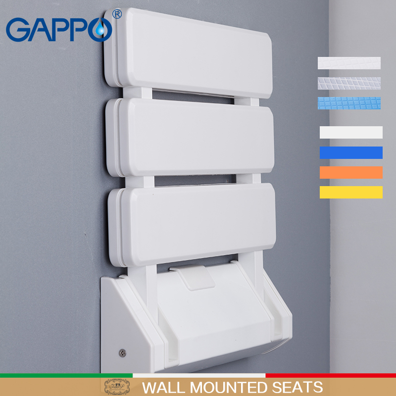 Gappo fixado na parede assentos de chuveiro plástico cadeira dobrável banqueta do banheiro taburete durável relaxar cadeira banco do toalete para chuveiro