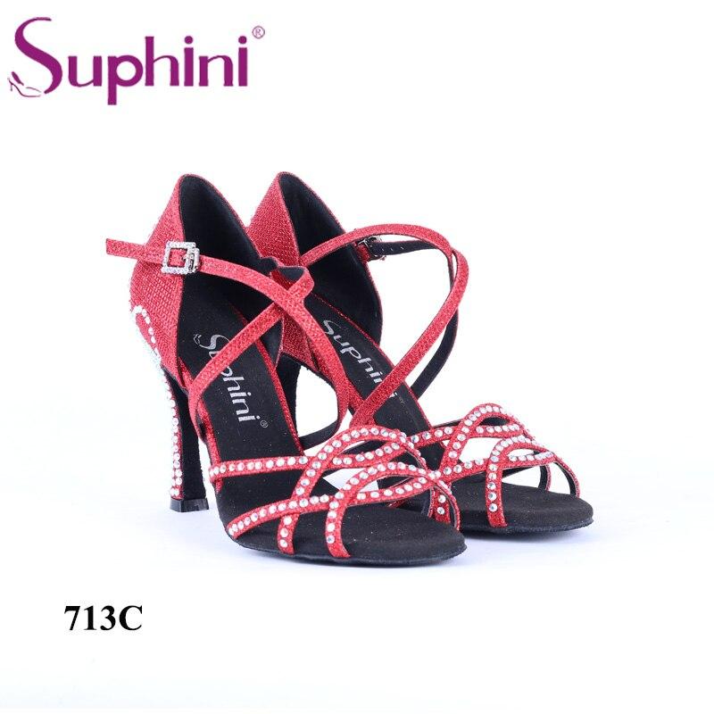 Free Shipping 2018 Red Dance Shoes Women's Ballroom Latin Shoes with Rhinestone Salsa Dance Shoes n 116 1 ladies ballroom latin dance shoes crystal diamond dance shoes fast shipping worldwide