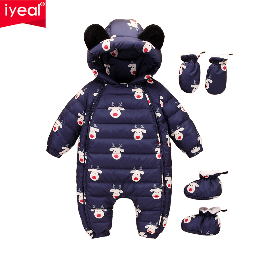 IYEAL Newest Christmas Baby Rompers Duck Down Winter Overalls Thick Warm Jumpsuit 2017 Newborn Clothes Infant Boys Girls Outwear baby rompers winter thick climbing clothes newborn boys girls warm jumpsuit 2018 high quality ski suit outwear for infant 0 18 m