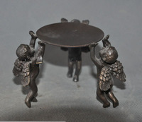 Crafts statue old china bronze Eros Cupid Angels Lamp stand Candle Holders Candlesticks statue halloween