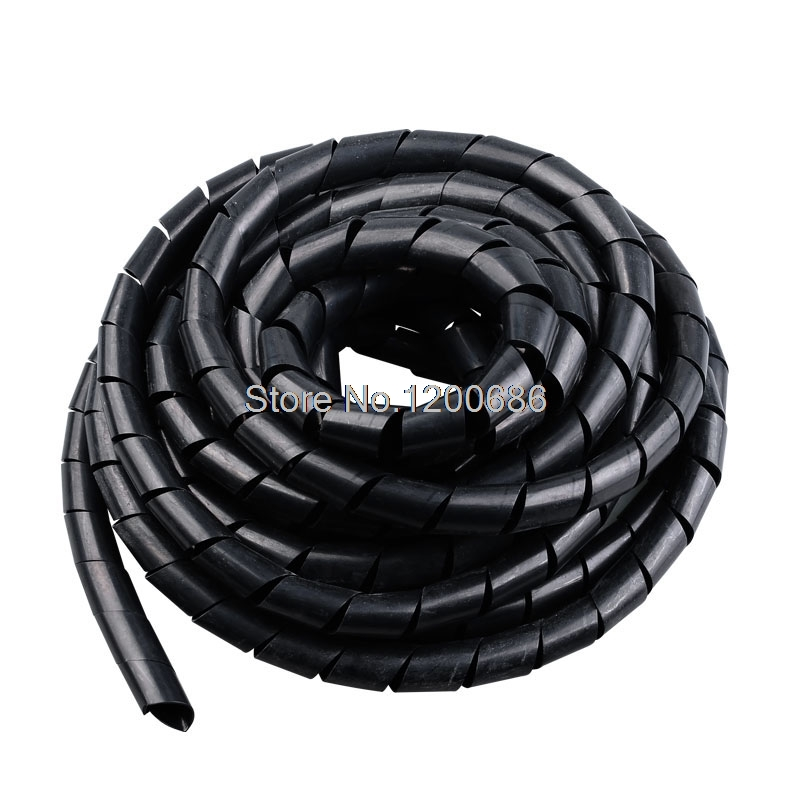 Black Wire Spiral Wrap Sleeving Band Tube Cable Protector Cable Sleeve black Wire Protection Spiral cable sleeve OD 4/6/8/10/12 gathered sleeve surplice wrap dress