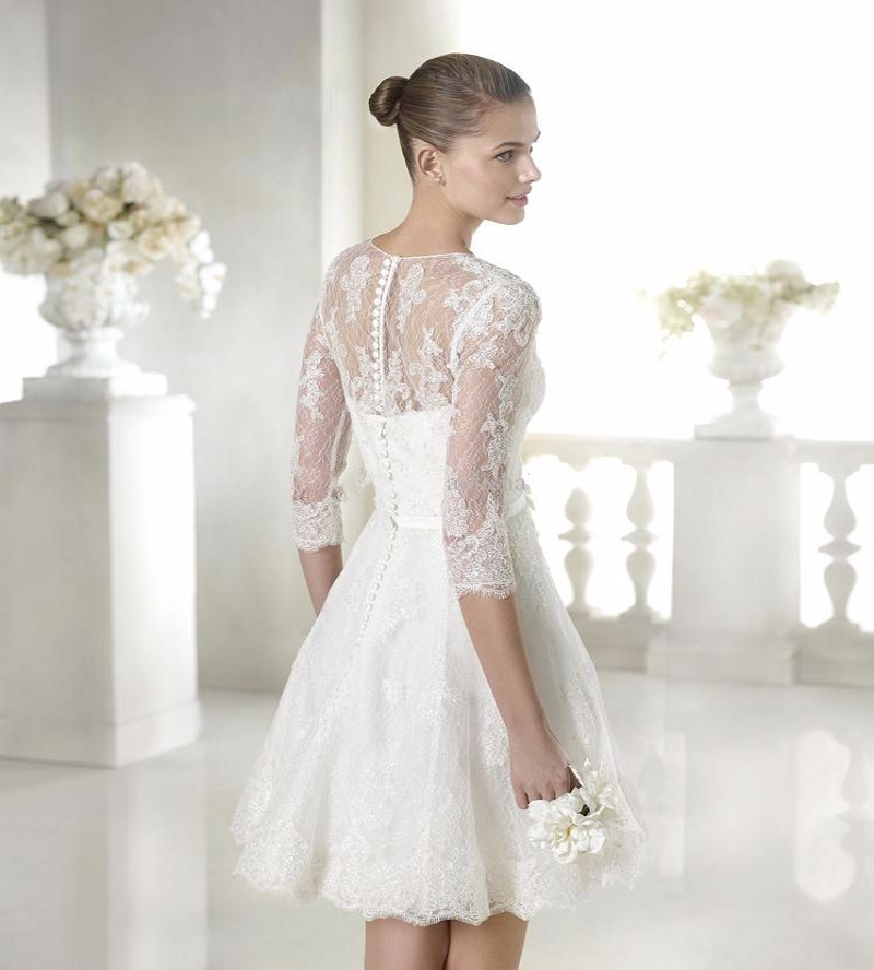 9e1098176067 ... 2016 Ivory A-Line Beach Wedding Dresses Lace Applique Sheer Jewel Neck  Cap Sleeves Tea ...