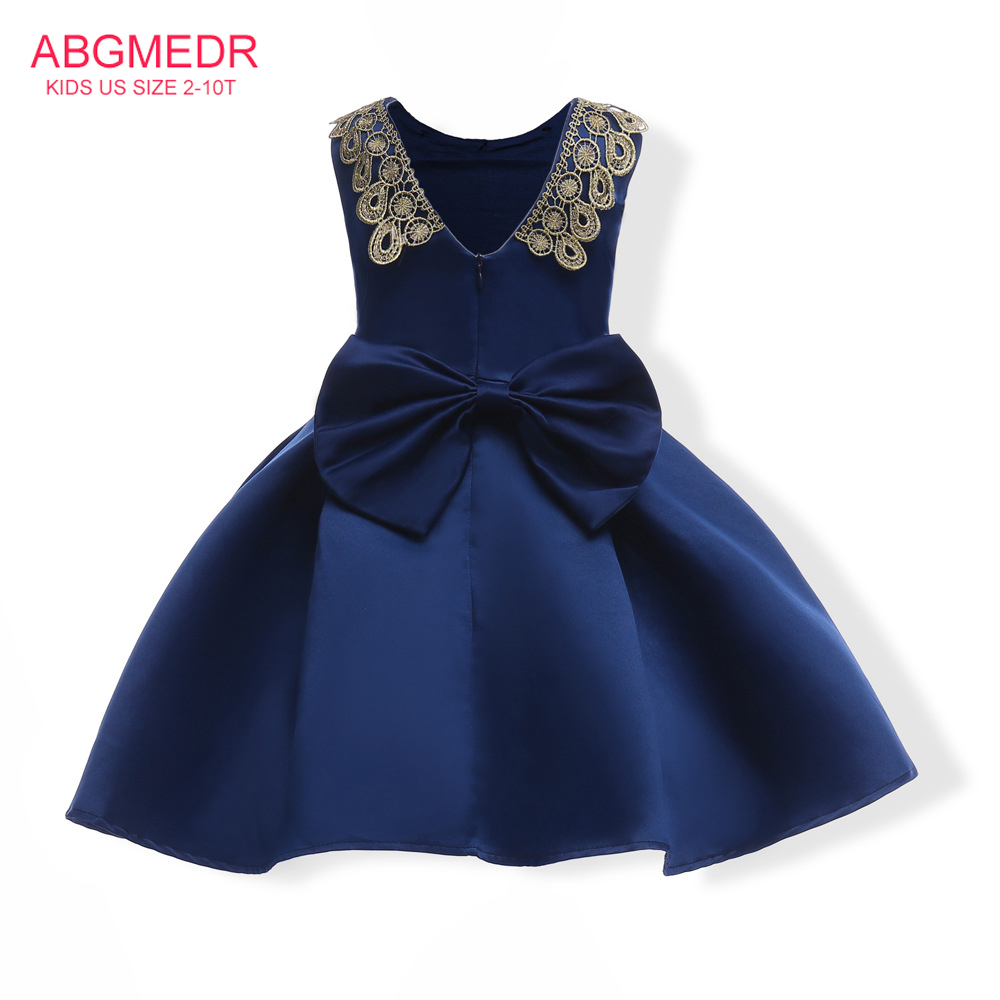 2017 Autumn Monsoon Kids Dresses Girl Wedding and Party Clothing Children Clothing Girls Dresses Bowknots Embroidered Clothes baby girls dresses 2017 autumn children clothing monsoon kids dress girl dress for party and wedding child cotton lining clothes
