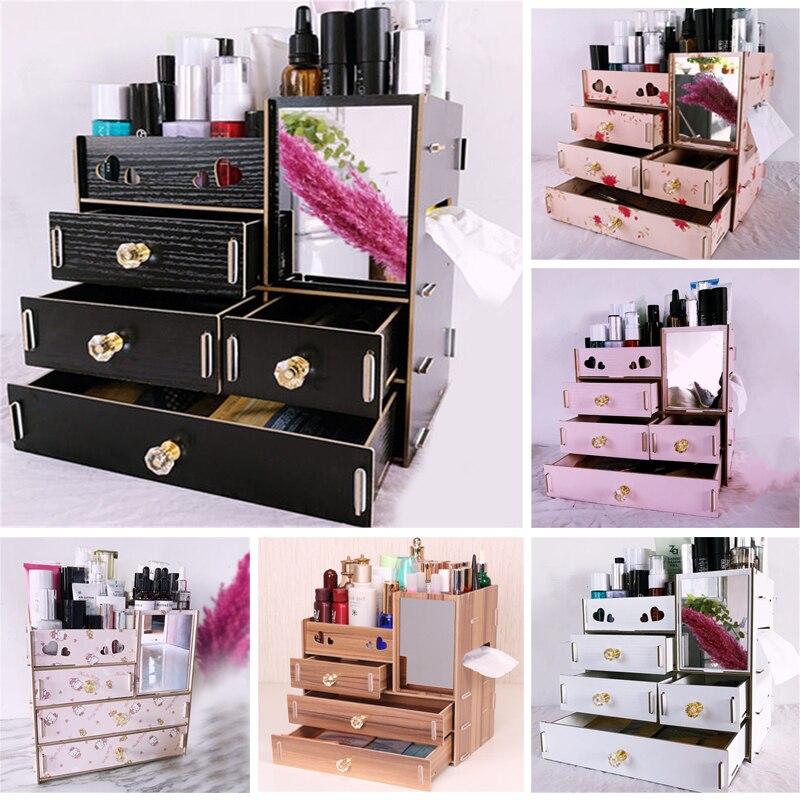 Контейнер для ювелирных изделий Деревянный ящик Органайзер ручной работы органайзер для косметики коробка DIY деревянная коробка для хране