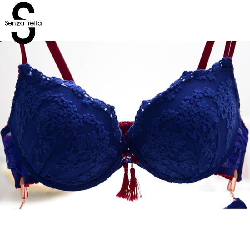 c695b06e05 Senza Fretta Sexy Tassel Bra Push Up Deep V neck Small Push Up Lace Female  Underwear Bra Set Embroidery Bra And Panties NYB4922-in Bra   Brief Sets  from ...