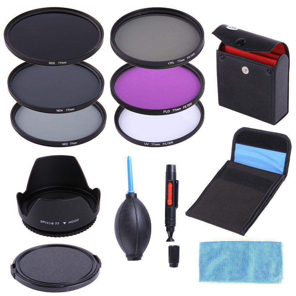 77mm UV CPL FLD ND 2 4 8 Filter Kit Lens Hood Cap For Canon EF