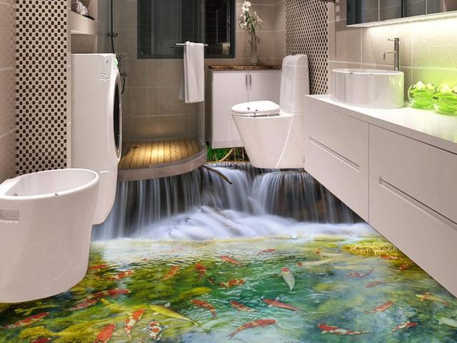 D floor sticker badkamer vinyl vloeren roll waterdichte