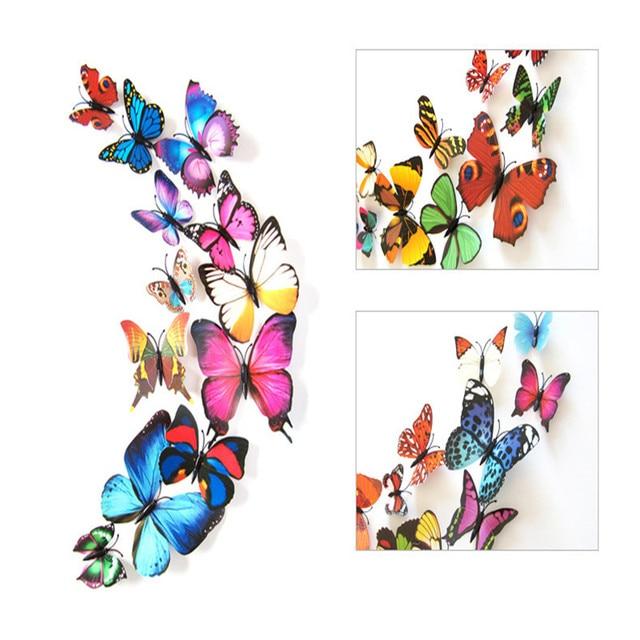 2 Sets Of 24PC PVC 3d Butterfly Wall Decor Cute Butterflies Wall Stickers Art  Decals Home