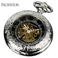 Pacifistor Mens Pocket Watches Vintage Reloj Bolsillo Necklace Watches Silver Gift Chain Pendant Fob Watch Mechanical Skeleton