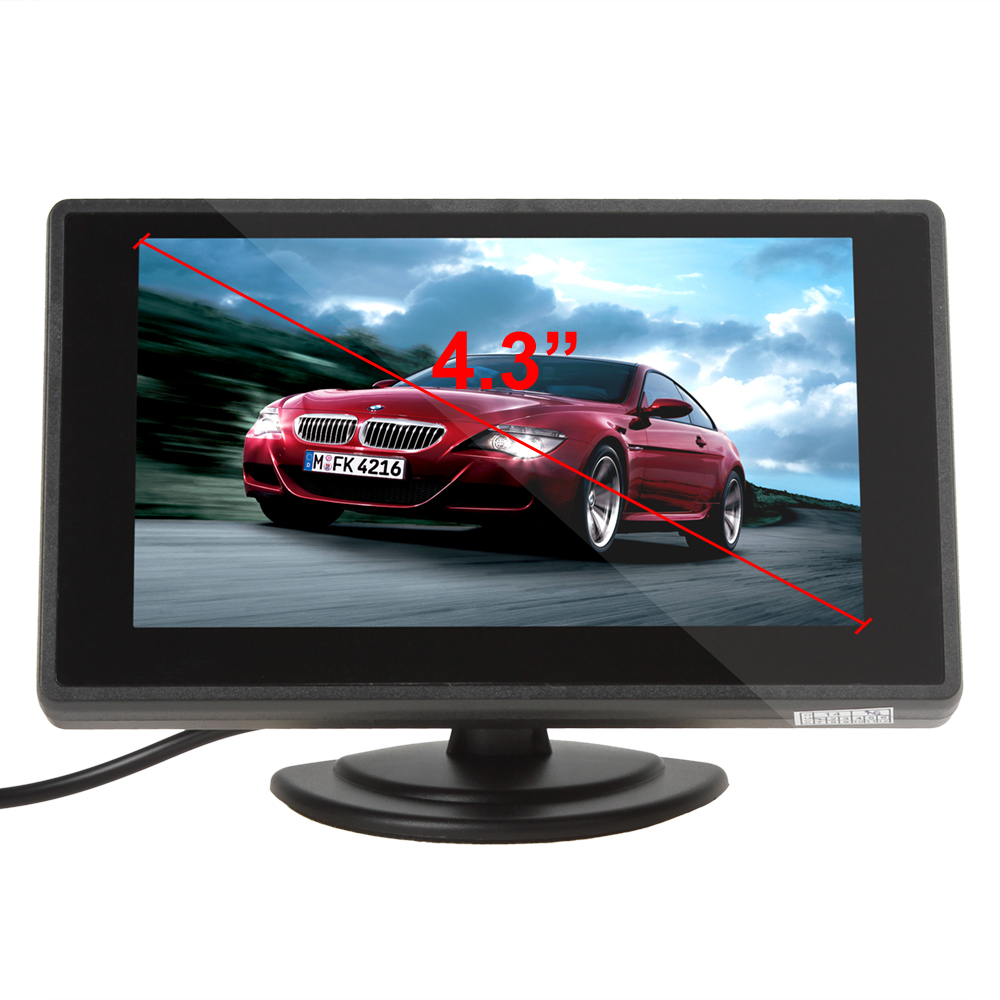 4.3'' Color TFT Car Monitor Support 480x272 Resolution + Car Rearview Monitor Stysle + 2-Channel Video Input Parking Assistance image