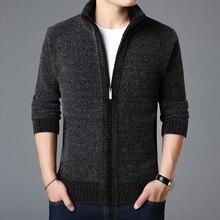 Jersey de marca a la moda para hombre, cárdigan grueso y ajustado, jerséis con punto, ropa informal de estilo coreano cálida, 2020