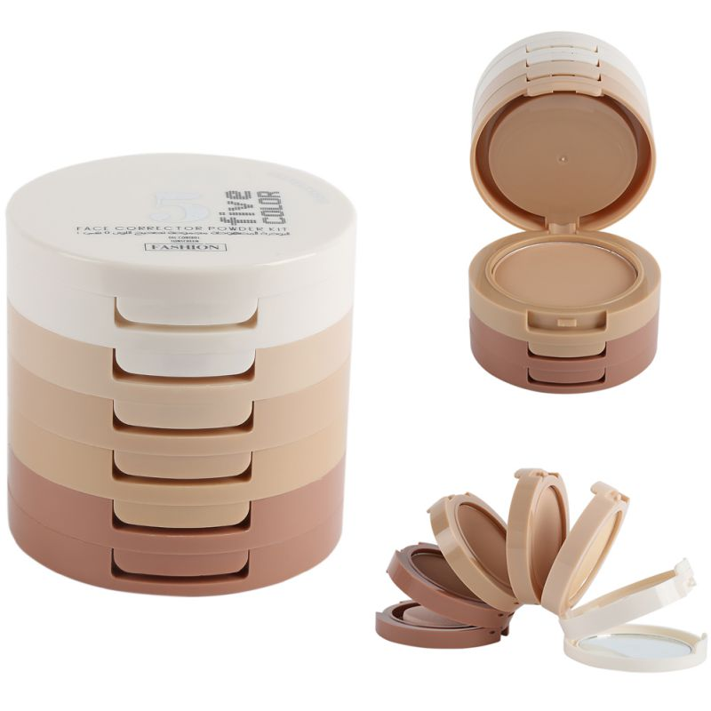 5 Colors Set Women Beauty Makeup Smooth Skin Face Powder Mineral Foundation Concealer Bare flawless foundation smooth beauty makeup powder puff sponge