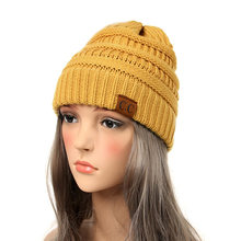 bf8c376faef Drop Shipping CC Beanie Women Cap Hat Skully Trendy Warm Chunky Soft Stretch  Cable Knit Slouchy Beanie Winter Hats Ski Cap