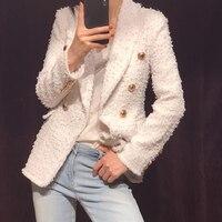 Высококачественные женские двубортный белый Пиджаки женские пальто Верхняя одежда