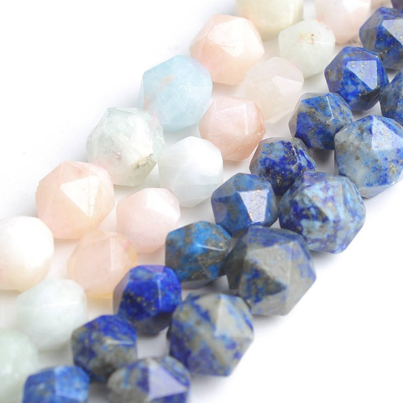Natural Faceted Lapis lazuli Colorful Morganite Gem Stone Round Loose Beads for Jewelry Making Diy Bracelet Necklace 15'' 8 10mm