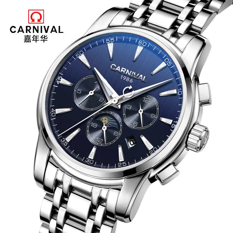 Carnival automatic mechanical popular brand men watches military full steel waterproof fashion casual luminous luxury watch male carnival military hot automatic mechanical sports brand men watches full steel waterproof fashion luminous luxury watch big dial