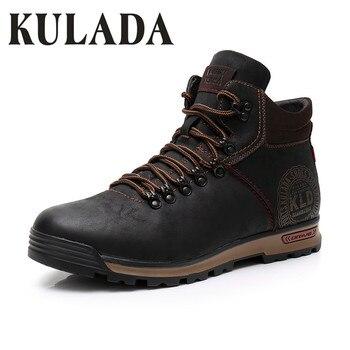 KULADA/2018 мужские кожаные кроссовки, модные зимние теплые ботинки, Мужская дышащая обувь на шнуровке, Мужская зимняя обувь с высоким берцем