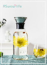Household Transparent Heat-resistant Glass Jug Simple Large-capacity Summer Juice Bottle with Silicone Cover