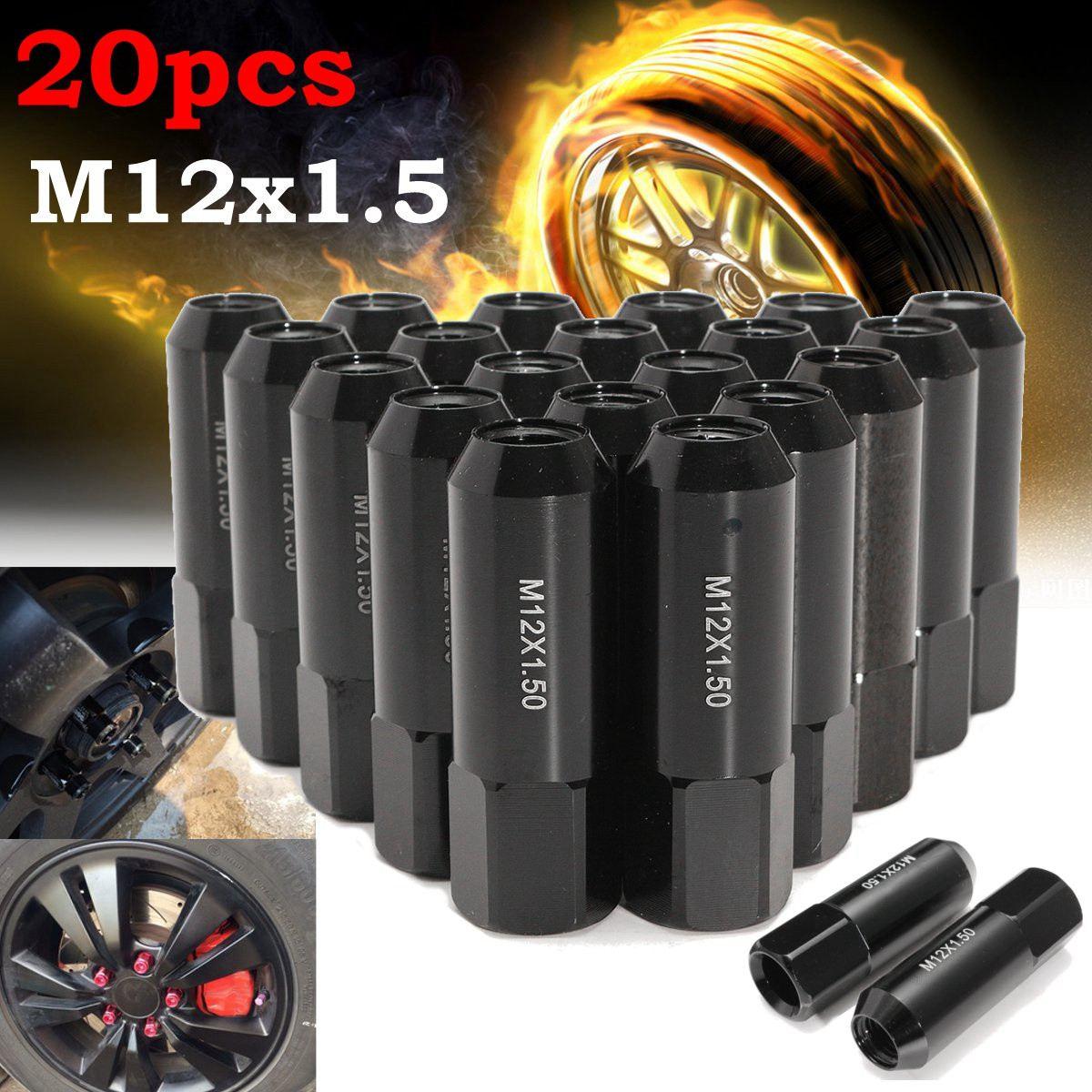 20pcs M12X1.5 50mm Car Extended Forged Aluminum Tuner Racing Wheel Lug Nut Black