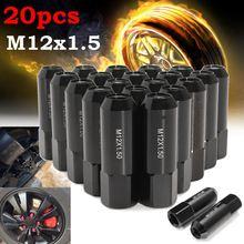 20ピース/セットアルミm12x1.5 60ミリメートルextendedチューナーlug nutsホイール黒用日産/インフィニティ/スバル/スズキ/マツダ