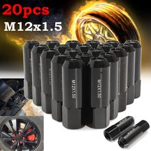 20 sztuk/zestaw aluminium m12x1, 5 60mm rozszerzony Tuner wyścigi nakrętki z końcówką felgi rowerowe czarny dla Nissan/Infiniti/Subaru/Suzuki/Mazda