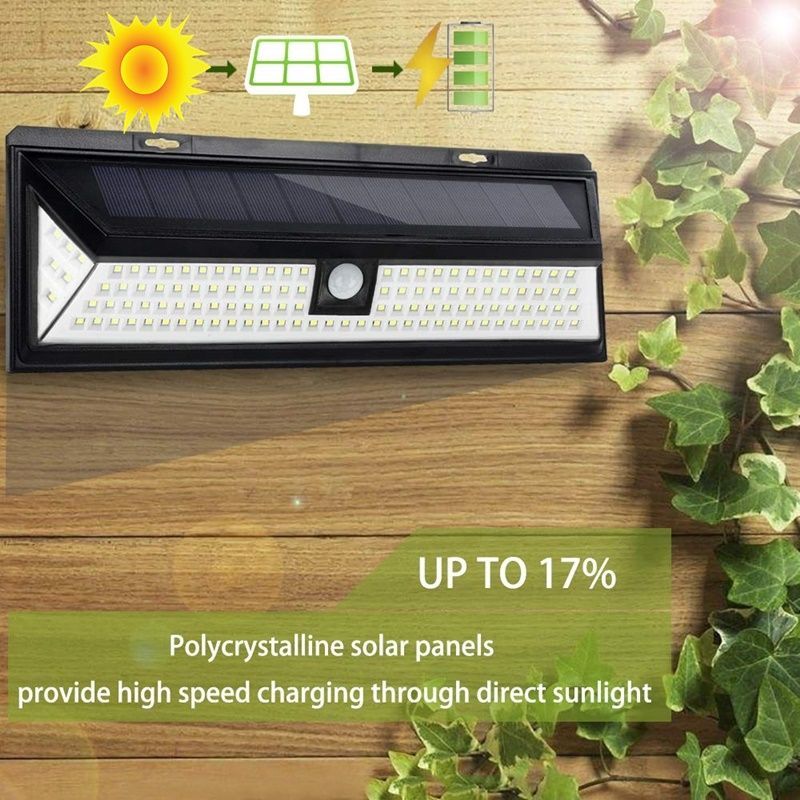 Lâmpada solar 118 led pir sensor de