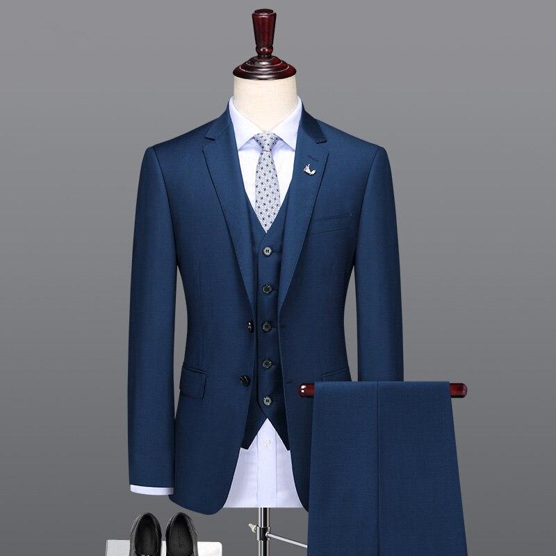 100% шерсть материал высокого качества Королевский синий цвет Мужские костюмы набор тонкий офис бизнесмен Свадебные Жених комплекты однобор