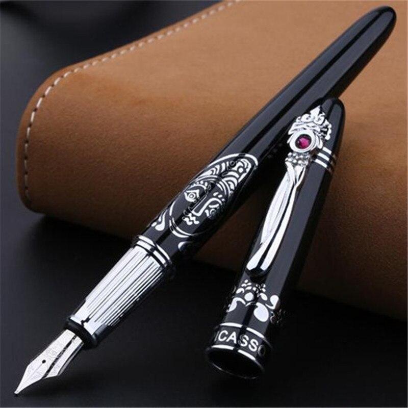 1 pc/lot édition limitée Picasso 928 stylo plume noir argent Clip encre série Jacqueline fournitures de bureau marque stylos 14.1 cm