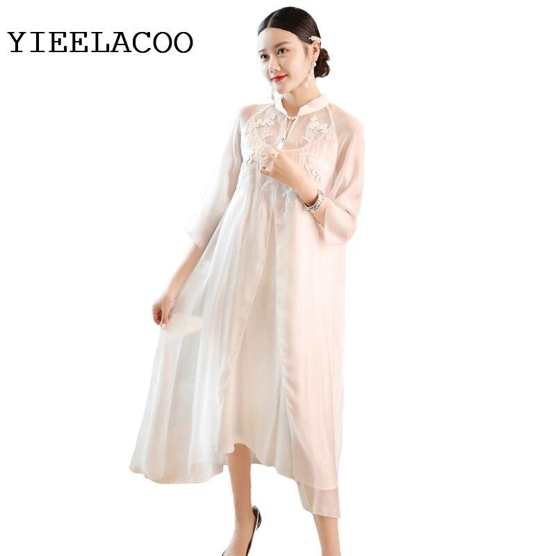 154284e219ed42 Weiß sommer Seide Nationalen Klassischen Französisch Libelle Retro Neue  Wind Frauen Kleid Stickerei Frühjahr uTwkOPZXil