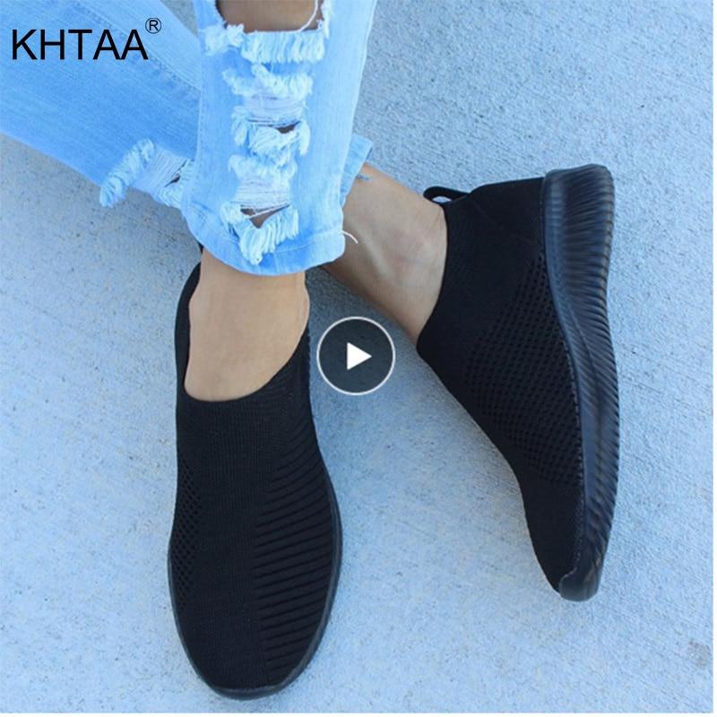 KHTAA Frauen Air Mesh Turnschuhe Herbst Flache Schuh Stretch Gestrickte Frühling Atmungs Casual Walking Vulkanisieren Schuhe Weibliche Plus Größe