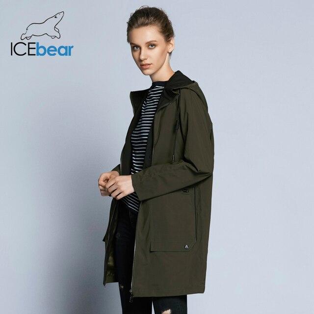 ICEbear 2019 Новинка женская модная ветровка весенняя женская куртка-парка с ветрозащитным капюшоном качественное пальто для отдыха GWF18006D
