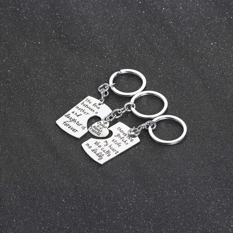 1/3 PC Mẹ Daddy Cô Gái Stole Của Tôi Trái Tim Tình Yêu Giữa Mẹ Con Gái Key Chains Nhẫn Fob Keyring keychain Phụ Nữ Trong Gia Đình
