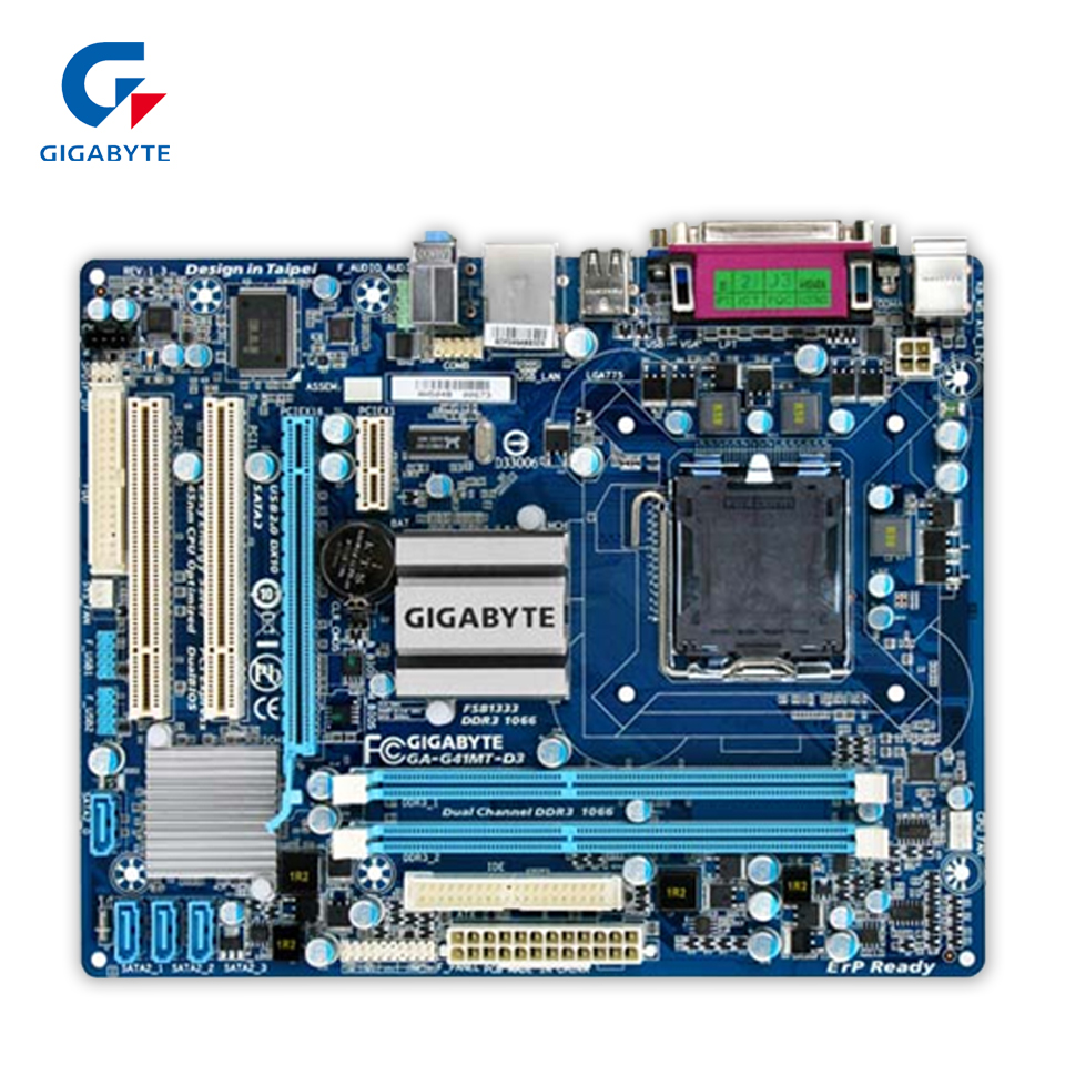 Gigabyte GA-G41MT-D3 Desktop Motherboard G41MT-D3 G41 LGA 775 DDR3 8G SATA2 USB2.0 Micro-ATX gigabyte ga g41mt s2p desktop motherboard g41mt s2p g41 lga 775 ddr3 8g sata2 usb2 0 micro atx