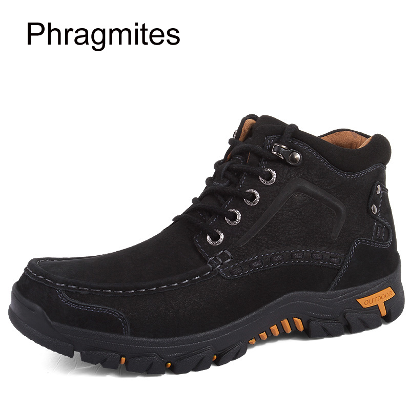 Phragmites marka wysokiej jakości mężczyźni buty na zewnątrz antypoślizgowe piesze wycieczki buty zimowe ciepły śnieg męskie buty skórzane zimowe buty robocze w Obuwie robocze i ochronne od Buty na  Grupa 1