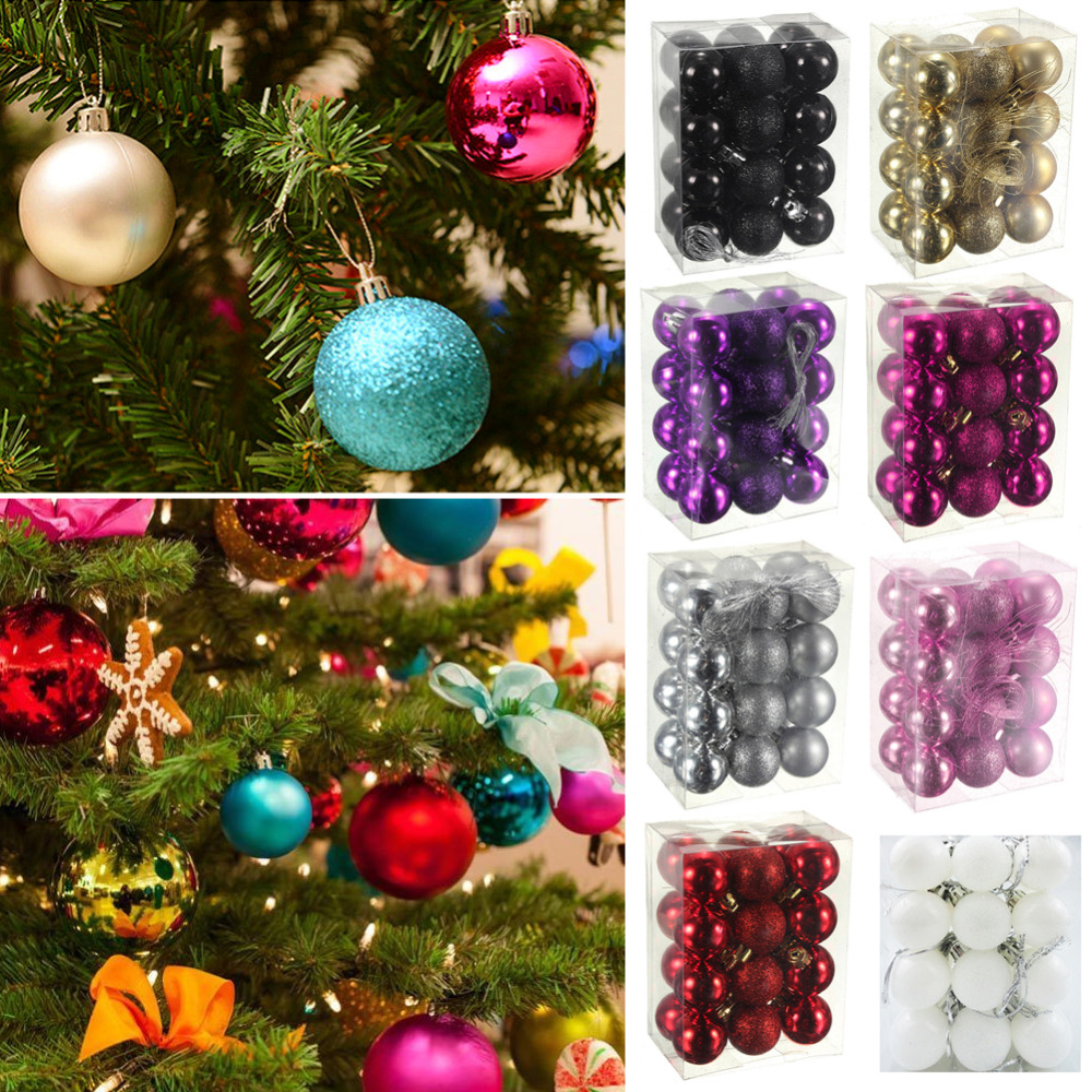 24 pcs christmas tree hanging balls ornaments 2017 new for Hanging garden ornaments