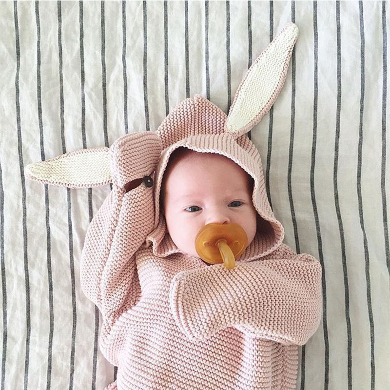 Baby Blankets Newborn Infant Knitted Envelope Baby Rabbit Swaddling Envelope Sleeping Bag Basket Bunny Knit Wrap Swaddle Wrap infant baby sleeping bag baby blankets quilt thick natural cotton sleeping bag detachable sleeves newborn swaddling clothes