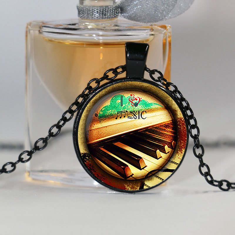 Online Shop Piano glass pendant, I heart Music necklace, Music ...