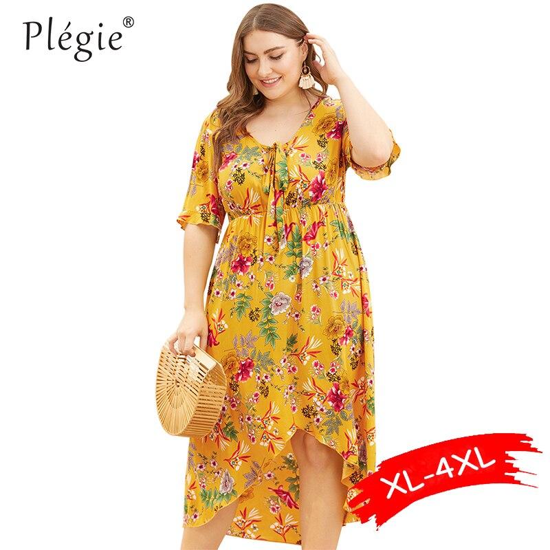 Женское платье с цветочным принтом Plegie, праздничное пляжное платье с v-образным вырезом и галстуком-бабочкой, платье с высокой талией, лето ...