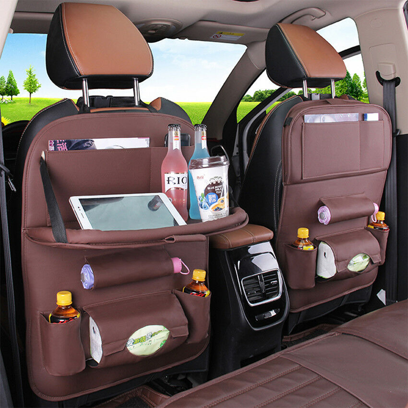 Image 5 - PU Leather Car Seat Back Bag Folding Table Organizer Pad Drink Chair Storage Box Travel Stowing Tidying Automobile Accessories-in Stowing Tidying from Automobiles & Motorcycles