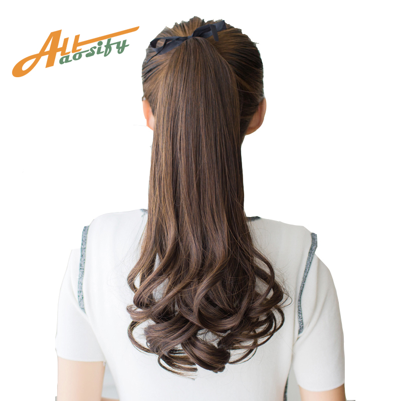 Allaosify Hair Long Women Curly Synthetic Ponytail Black -4824