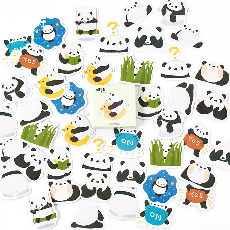 45PCS/box New Cute Fat Panda Diary Paper Lable Stickers Crafts And Scrapbooking Decorative Lifelog Sticker DIY Lovely Stationery 45pcs box cute animal crystal ball mini paper decoration stickers diy diary scrapbooking seal sticker stationery school supplies